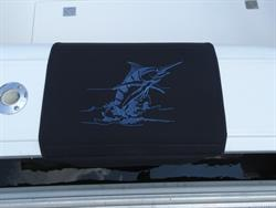"Sunbrella Custom Embroidered Blue Marlin Outline Boarding Mat For Boat Gunnel - Pacific Blue Embroidery - 20"" x 35"""