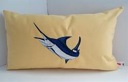 Sunbrella Embroidered Game Fish Blue Marlin Pillow Cover - Buttercup