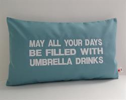 Sunbrella Embroidered May Your Days Be Filled Indoor Outdoor Pillow Cover - Mineral Blue