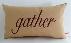 Sunbrella Embroidered Autumn Gather Indoor Outdoor Pillow Cover - Meridian Mustard