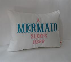 Sunbrella Embroidered Mermaid Pillow Cover - A Mermaid Sleeps Here® - Natural - 12