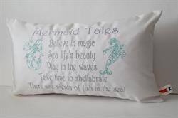 Sunbrella Embroidered Mermaid Pillow Cover - Mermaid Tales - Natural
