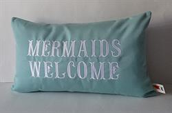 Sunbrella Embroidered Mermaid Pillow Cover - Mermaids Welcome - Glacier