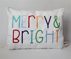 Sunbrella Embroidered Multi Color Merry and Bright Christmas Pillow Cover