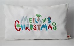 Sunbrella Embroidered Merry Christmas Indoor Outdoor Pillow Cover - Natural