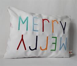 Sunbrella Embroidered Multi Color Merry Merry Christmas Pillow Cover