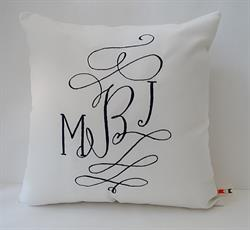 Sunbrella Monogrammed Indoor Outdoor Pillow Cover - Courtly Calligraphy Font