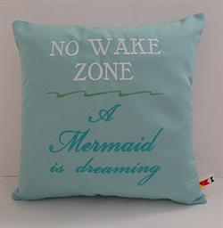Sunbrella Embroidered Mermaid Pillow Cover - No Wake Zone - Glacier