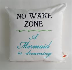 Sunbrella Embroidered Mermaid Pillow Cover - No Wake Zone - Navy and Aqua