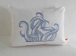 Sunbrella Embroidered Swirly Pillow Cover - Octopus - Natural