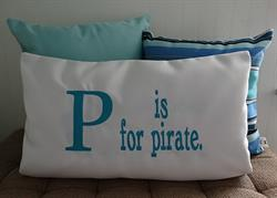 Sunbrella Embroidered Pirate Pillow Cover - P Is For Pirate - Natural