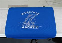 "Sunbrella Custom Embroidered Pacific Blue Tailwalking Marlin Boarding Mat - 20"" x 35"""