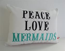 Sunbrella Embroidered Mermaid Pillow Cover - Peace Love Mermaids - White