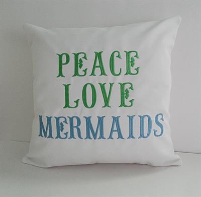 Sunbrella Embroidered Mermaid Pillow Cover Peace Love Mermaids White 16 Square