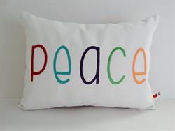 Sunbrella Embroidered Multi Color Peace Indoor Outdoor Pillow Cover