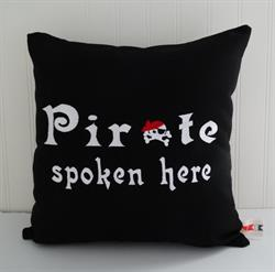 Sunbrella Embroidered Pirate Pillow Cover - Pirate Spoken Here - Black