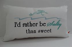 Sunbrella Embroidered Mermaid Pillow Cover - Sweet Not Salty - Natural
