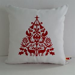 Sunbrella Embroidered Scandinavian Christmas Tree Indoor Outdoor Pillow Cover