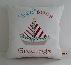 Sunbrella Embroidered Seasons Greetings Indoor Outdoor Pillow Cover