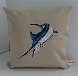 Sunbrella Embroidered Game Fish Blue Marlin Pillow Cover - Antique Beige