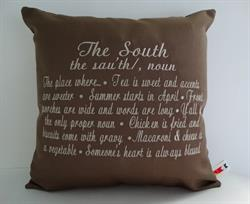 Sunbrella Embroidered The South Pillow Cover - Cocoa