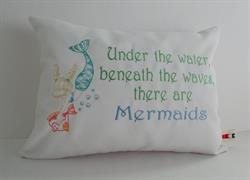 Sunbrella Embroidered Mermaid Pillow Cover - Under The Water - White