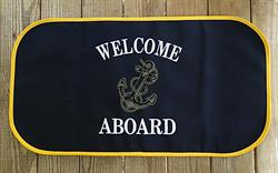 Sunbrella Embroidered Welcome Aboard With Anchor Non Skid Boat Mat - Navy With Yellow Anchor