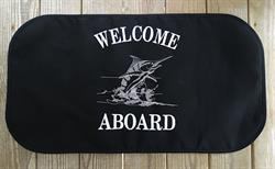 Sunbrella Embroidered Welcome Aboard With Marlin Non Skid Boat Mat - Black