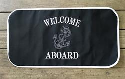 Sunbrella Embroidered Welcome Aboard With Anchor Non Skid Boat Mat - Black