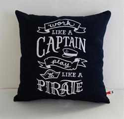 Sunbrella Embroidered Work Like A Captain Outdoor Pillow Cover