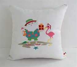 Sunbrella Beach Santa With Flamingo Embroidered Christmas Indoor Outdoor Pillow Cover