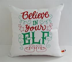 Sunbrella Embroidered Believe In Your Elf Christmas Indoor Outdoor Pillow Cover