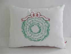 Sunbrella Embroidered Christmas Carol Wreath Indoor Outdoor Pillow Cover