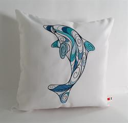 Sunbrella Embroidered Swirly Pillow Cover - Dolphin - Natural