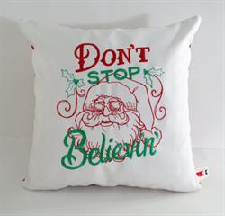 Sunbrella Embroidered Don't Stop Believin' Indoor Outdoor Pillow Cover - Natural