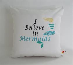 Sunbrella Embroidered Mermaid Pillow Cover - I Believe In Mermaids - Natural