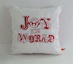Sunbrella Embroidered Joy To The World Indoor Outdoor Pillow Cover - Natural