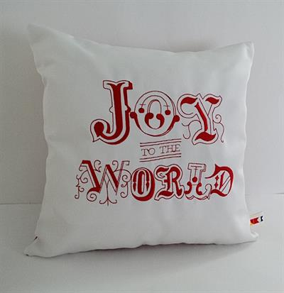 Sunbrella Embroidered Joy To The World Indoor Outdoor Pillow Cover