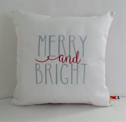 Sunbrella Embroidered Merry and Bright Indoor Outdoor Pillow Cover