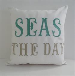 Sunbrella Embroidered Sea Pillow Cover - Seas The Day