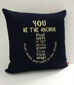 Sunbrella Embroidered Anchor Pillow Cover - You Be The Anchor - Navy