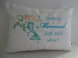 Sunbrella Embroidered Mermaid Pillow Cover - Instant Mermaid - Natural