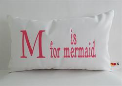 Sunbrella Embroidered Mermaid Pillow Cover - M Is For Mermaid - Pink Embroidery